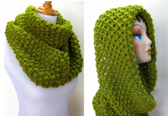Knitting Popcorn Stitch Instructions : Chunky Knit Cowl Infinity Style Popcorn Stitch by Fanchi on Etsy