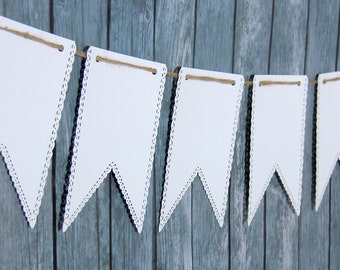 White Banner - White Swallowtail Banner - Paper Bunting - Paper Garland - Nursery Decor -  Wedding Photo Prop - Name Banner - bunting banner