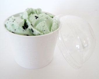 12oz White Ice Cream Cups with lids - Set of 12