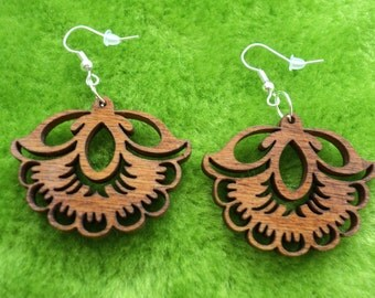 Laser cut folk flower wooden earrings in brown mahogany large size available