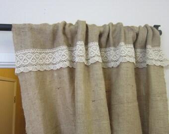 Simple Burlap Curtain, Shabby Chic Curtain, Neutral Drapes, Lace Curtains