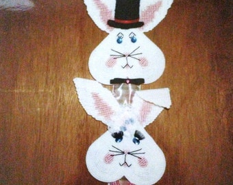 Easter Bunny Wall Hanging Plastic Canvas Needlepoint