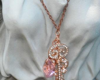 rose gold rhinestone necklaces