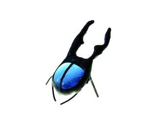 SMALL stained glass bug beetle suncatcher home decor blue cervus