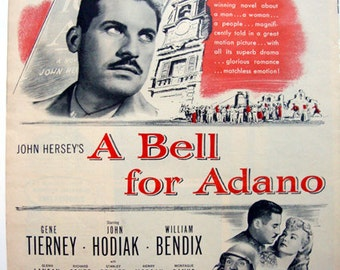 A Bell for Adano - Movie Ad, classic movie ad, Pulitzer prize winning novel, movie decor, US Army, Sicily, Italy, Gene Tierney, movie art