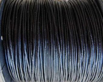 5 Yards Black Leather Cord, .5 mm, (15 Feet)