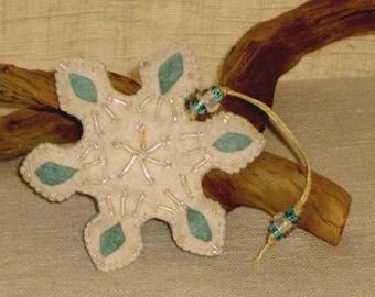 Frozen Winter Wool Felt Snowflake Ornament, Mint Blue & White Beaded Winter Snowflake *Ready to ship