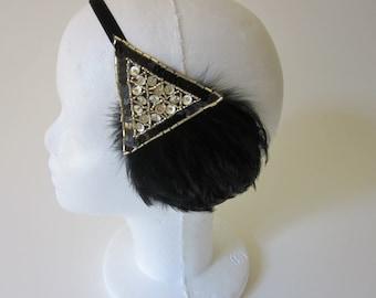 Gold headpiece, great gatsby headband, black feather headband, 1920s headband, flapper headband, 1920s headband gold black beaded fascinator