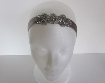 Lyrical Dance Headband, Lyrical Dance Costume headpiece, Silver 1920s Great Gatsby, Stretch Elastic Velvet Gold Bronze Silver Flapper Bridal
