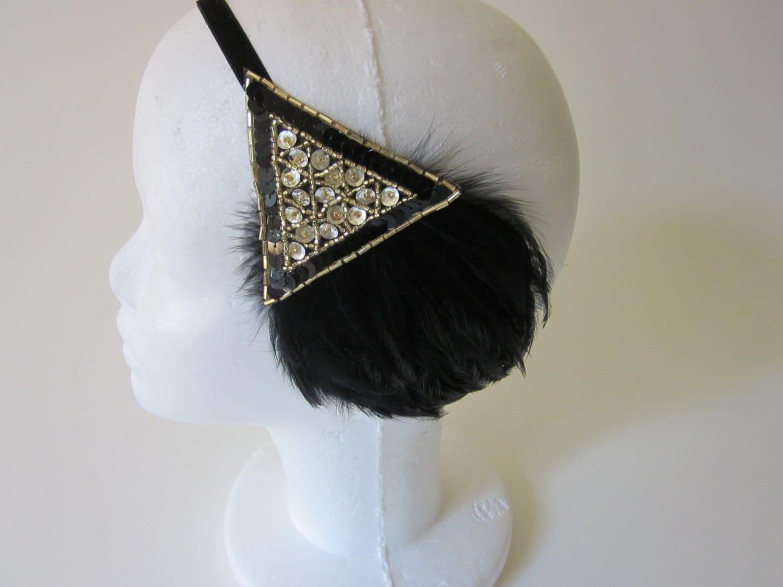 headband annees 20 1920s headband great gatsby headband. Black Bedroom Furniture Sets. Home Design Ideas