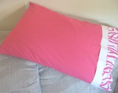 Pink Zebra Pillow Case, handmade, flannel, white and pink, girls zebra print, standard size