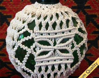 "3 - Macrame Covered 1930's ""Sunkist"" Juice Bottle Collector's Item ~ Size:6.5""x6""x3.5"""