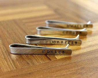 Groomsmen Gift Four (4) Personalized Tie Clips / Monogram Tie Clip / Custom Tie Clip / Tie Bar / Father's Day Gift / Free Shipping