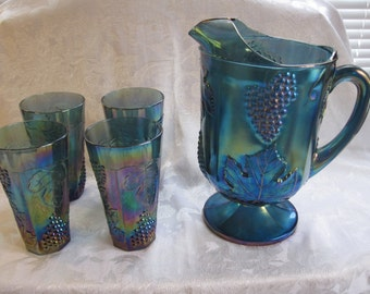 Indiana Blue Glass Pitcher and Tumblers