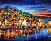 "Quiet Town — PALETTE KNIFE Cityscape Modern Fine Art Textured Oil Painting On Canvas By Leonid Afremov - Size: 40"" x 30"" (100 x 75 cm)"