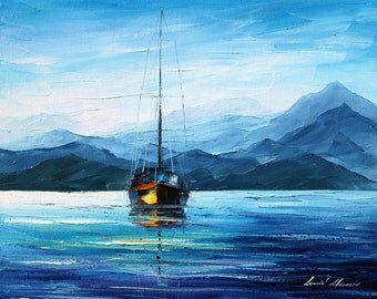 """Fresh Morning — Palette Knife Nautical Seascape Oil Painting On Canvas By Leonid Afremov. Size: 24"""" X 20"""" Inches (60 cm x 50 cm)"""
