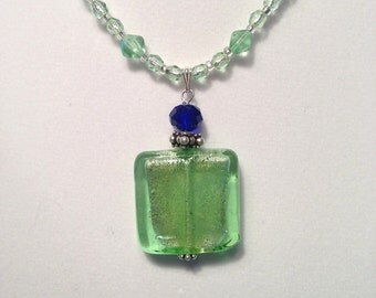 Peridot Dichroic Bead Pendant Necklace