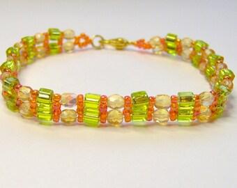 Citrus summer bracelet - citrus anklet - cube bead bracelet - lime green bracelet - friendship bracelet - beaded bracelet