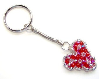 Red crystal heart keyring, red keychain, red keyring, red heart, heart keychain, red heart keyring, anniversary gift, beaded keyring