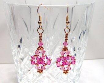Cherry pink swarovski earrings, pink earrings, rose pink earrings, beaded earrings, beadwork earrings, beadwoven earrings, crystal earrings
