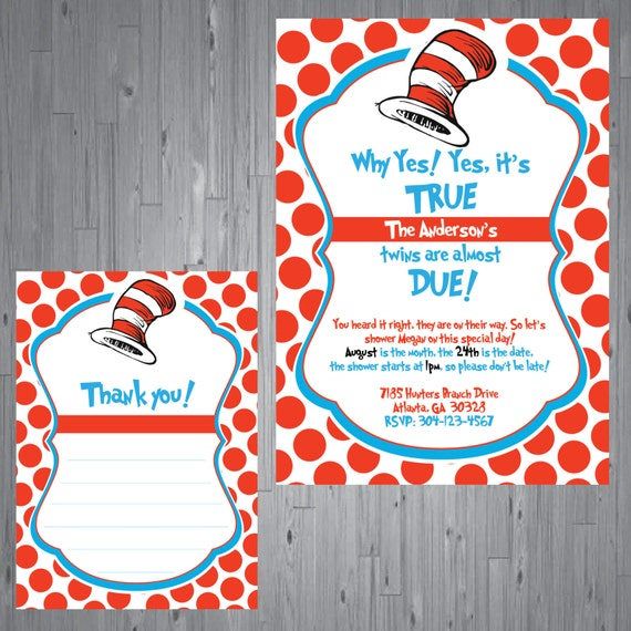 Printable dr seuss baby shower invitations for one baby twins or dr seuss twins baby shower invitation and thank you card filmwisefo