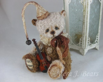 "SOLD 5.5 "" Miniature Artist Bear  Little Stradivari with wooden miniature violin Handmade by Vera J.Bears"