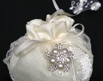 Bridal Money Purse, Ivory or White Lace Wedding Bag, Wedding Purse, Rhinestone/Pearl Embellishment