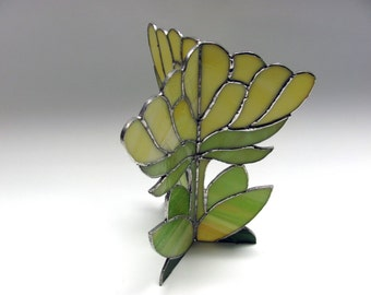 3D yellow stained glass flower