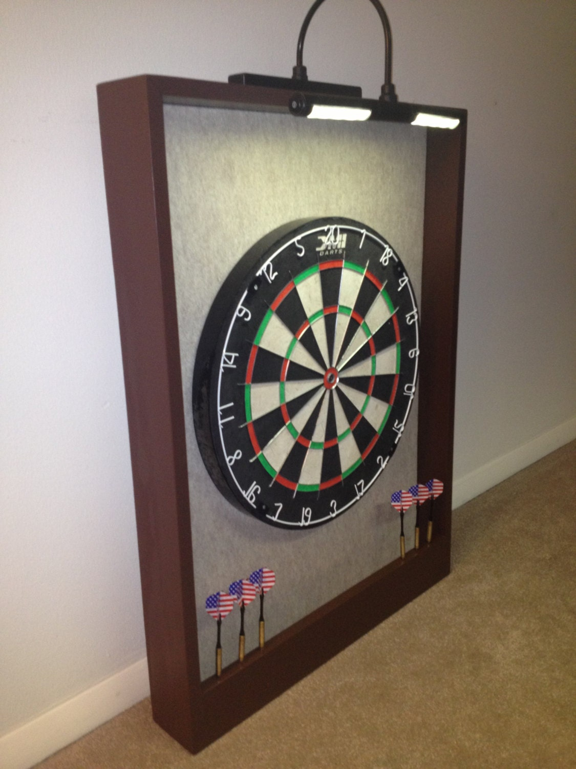 Led Lighted Sandstone Felt Amp Brown Trim Dart Board Backboard
