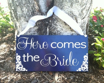 Here Comes the Bride Sign Ringbearer/Flowergirl Sign -- Wedding Signage  - Wedding Signs --  Custom Wood Wedding Signs  -- Photo Prop