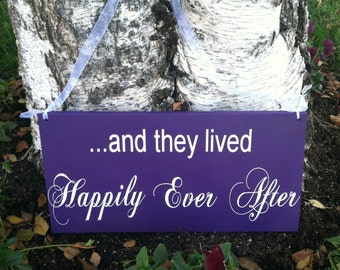 And They Lived Happily Ever After Sign Photo Prop Wedding Gift Personalized Wedding Sign Bridal Shower Gift Custom Wood Sign Home Decor