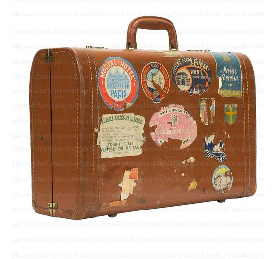 Items similar to vintage suitcase clip art with digital for The vintage suitcase
