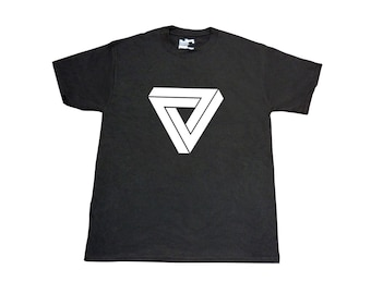 Mens Penrose Triangle T-Shirt - S,M,L,XL,XXL - Optical Illusion - Black, White, Grey, Charcoal - Womens & Kids Available - New