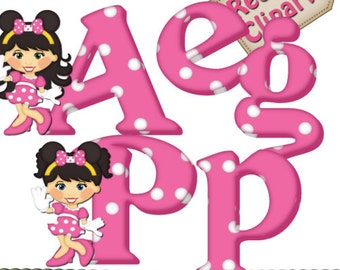 DIGITAL SCRAPBOOKING CLIPART - Minnie Mouse Alphabet Pink