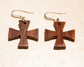Exotic Cocobolo Wood Iron Cross Earrings