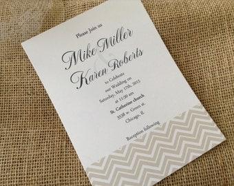 100 Wedding Invitations, invites  Natural Chevron 100 Wedding Invitations