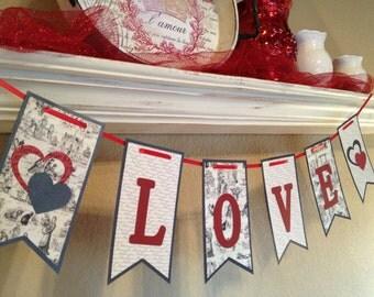 Love Banner, Valentine Banner, Jumbo Banner, Toile Banner, Red, Toile, I Love You, Valentine Garland,  Valentine Decoration, Wedding Banner