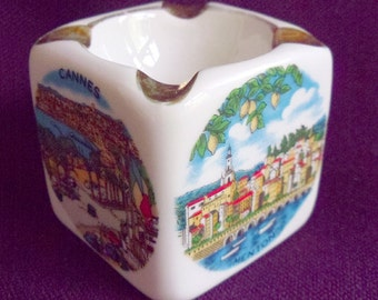 Monte Carlo Souvenir ashtray Monaco and the Cote d'Azure Vintage French porcelaine Monte Carlo circa 20C