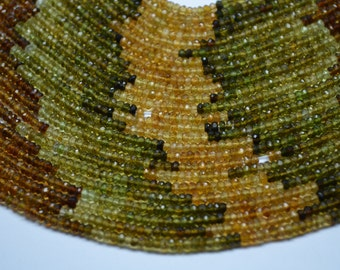 Vivid 13.5 Inch Strand 3-3.5MM -AAA Genuine Natural Petrol Tourmaline Faceted Rondelle Beads Strand