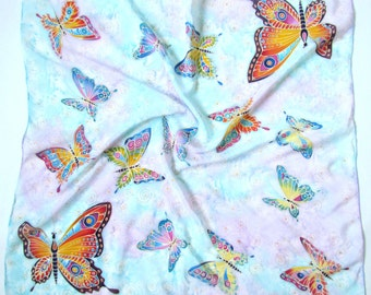 Hand Dyed Silk Scarf Hand painted Scarf. Batik shawl 'Multicolored butterflies' hand-painted on silk. Gift for her. Ready to ship.