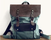 olive canvas backpack, leather canvas bag, travel bags, student backpcak, shoulder bags, school bag