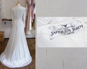 designer vintage wedding dress, 40s wedding dress, Jacques Heim wedding gown