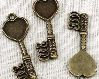 20 pcs of antique bronze key pendant  length  30x12mm