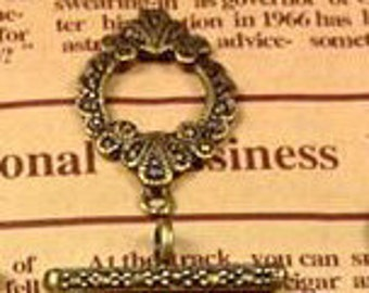 20 sets of Antiqued Bronze fancy toggle clasps 27x17mm