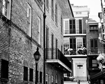 New Orleans French Quarter Black and White Photograph,Street Scene, Architecture