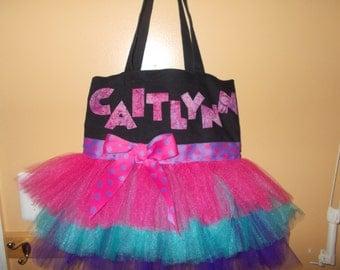 girls tutu bag with applique name
