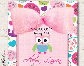 Owl Birthday Invitation Girl First Birthday