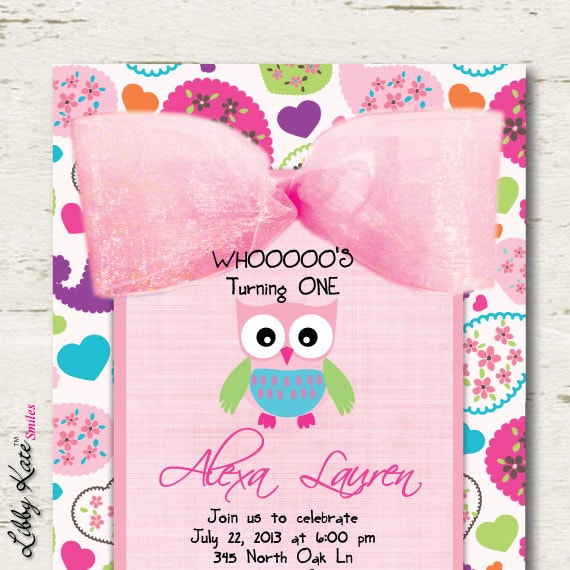 Owl Birthday Invitation Girl First Birthday