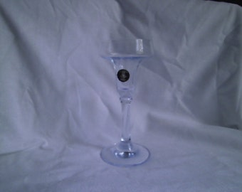 light blue glass candle stick holder