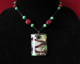 Green and Red Glass Bead Necklace- Handmade